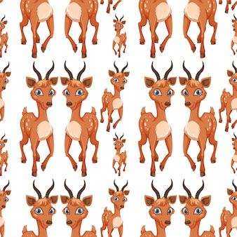 A deer on seamless pattern