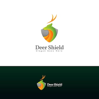 Deer shield logo design template