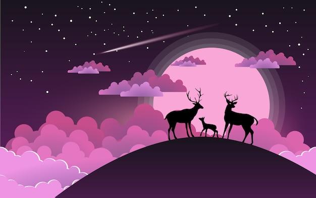鹿シルエットとペーパーアートデザイン。美しい月と丘の上の鹿