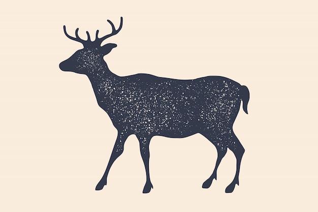 Олень, силуэт. старинный логотип, ретро принт, плакат