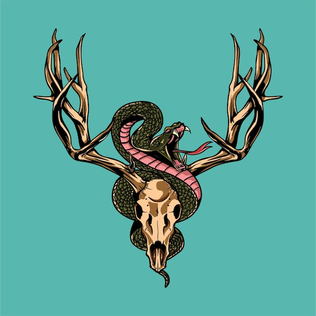 Deer skull and snake illustration