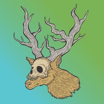 Deer and skull.