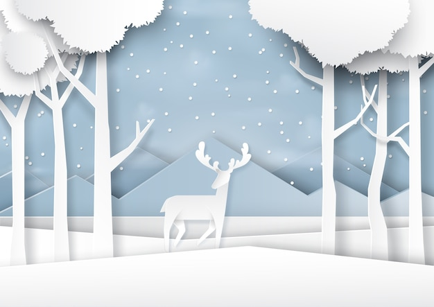 Deer on snow and winter season landscape paper art style.