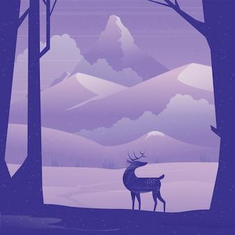 겨울에 숲에 서있는 사슴