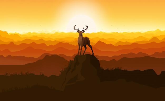 石の上に立っている鹿