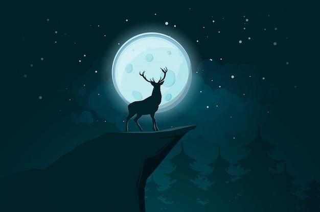 Deer stands on a rock at a moonlit night.  illustration