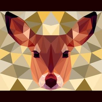 사슴은 앞을 응시합니다. 자연과 동물 생활 테마 배경입니다. 디자인 카드, 초대장, 포스터, 배너, 현수막, 빌보드 표지에 대한 추상 형상 다각형 삼각형 그림