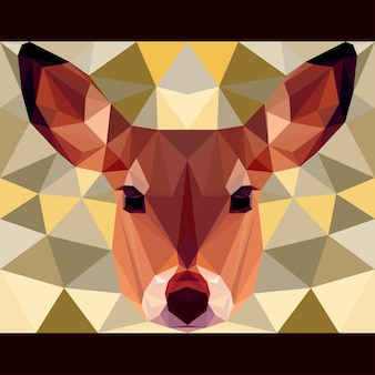 Deer stares forward. nature and animals life theme background. abstract geometric polygonal triangle illustration for design card, invitation, poster, banner, placard, billboard cover