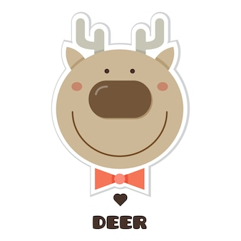 Deer. sticker. vector illustration.