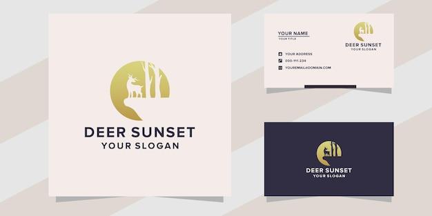 Deer sunset logo template