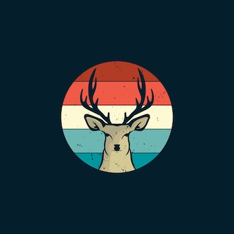 Deer and sunset in vintage style logo