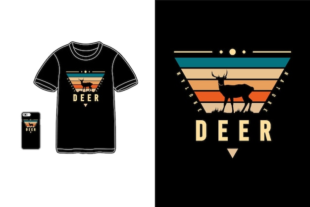 사슴, 티셔츠 상품 siluet 타이포그래피
