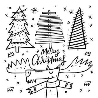 Deer and three christmas trees. doodle style. cartoon hand draw coloring.  isolated on white background