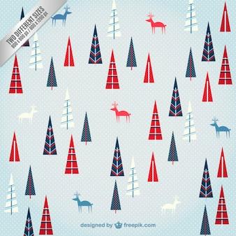 Deer and trees christmas pattern
