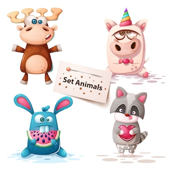 Deer, unicorn, rabbit raccoon - set animals