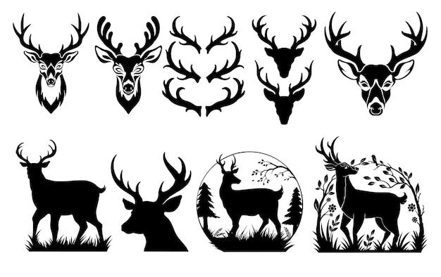 Набор векторных оленей