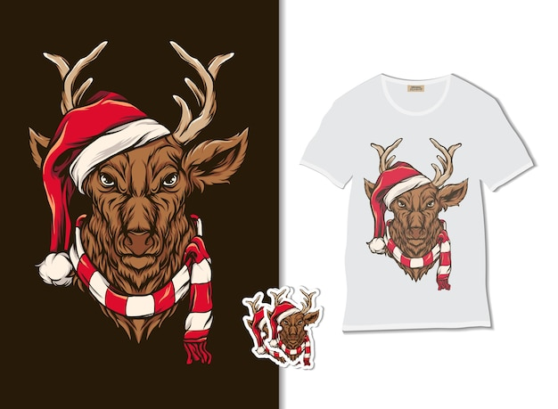 Tシャツのデザイン、手描きのクリスマスの帽子をかぶった鹿