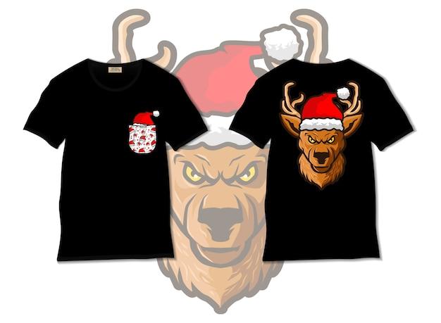 Tシャツのデザイン、手描きのサンタクロースの帽子のイラストを身に着けている鹿