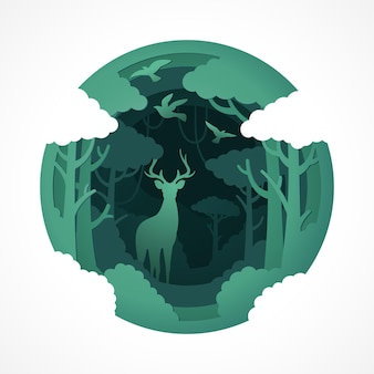 Олень дикая природа в стиле papercut зеленого эко леса