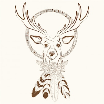 Deer with dream catcher with feathers