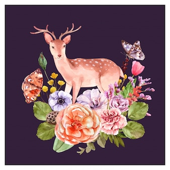 Deer with floral decoration