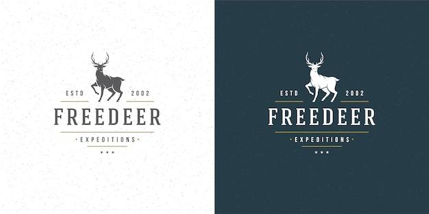 Deer with horns logo emblem  reindeer silhouette