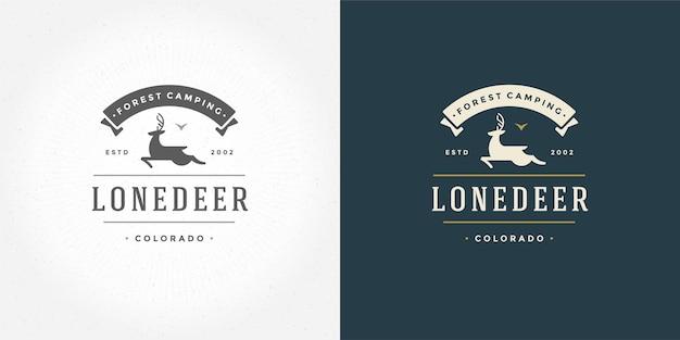 Олень с рогами логотип эмблема векторные иллюстрации силуэт оленя для рубашки или печати штамп. винтажный дизайн значка типографии.