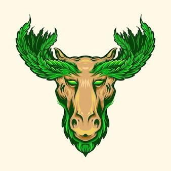Олень с иллюстрациями талисмана логотипа оленьих рогов с листьями марихуаны
