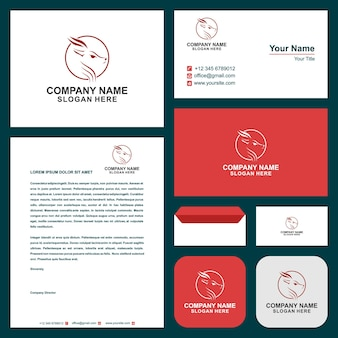 Deer with moon and logo modern graphic design illustration and business card