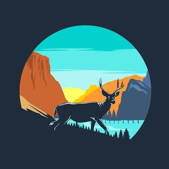 자연 배경 일러스트와 함께 사슴