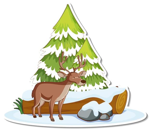 눈으로 덮인 소나무와 사슴 스티커
