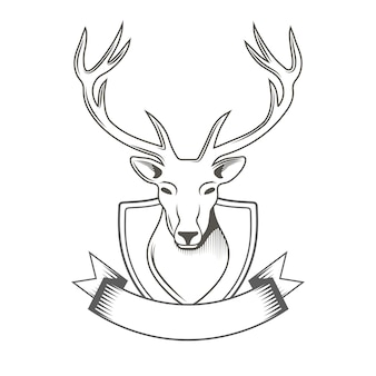Deer with ribbon logo isolated on white for hunter club