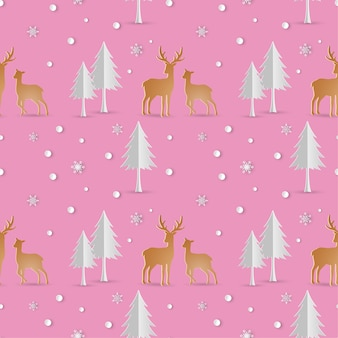 Deer with snowflakes seamless pattern