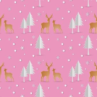鹿、雪、シームレス、パターン