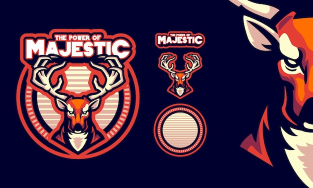 Deer with strong antlers mascot logo