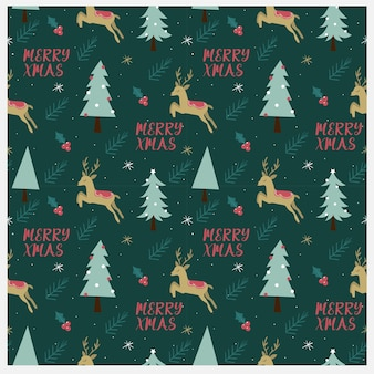 Deer with the tree and christmas element seamless pattern