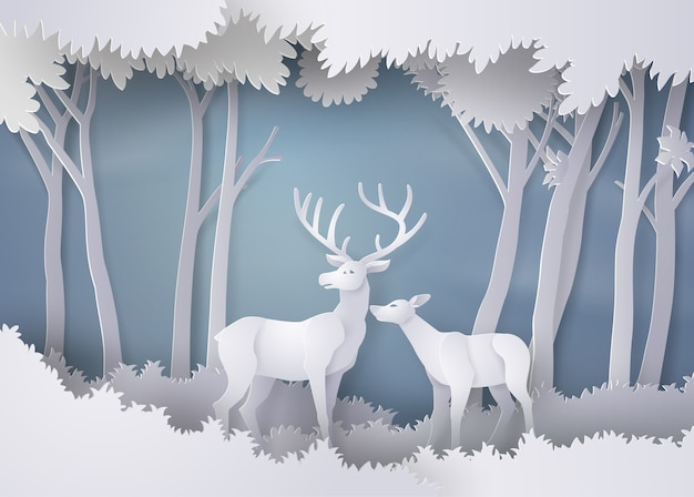 Deers in the forest.paper art and craft style