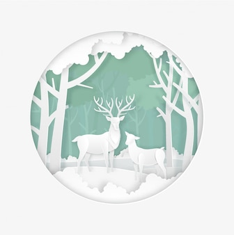 Deers in the forest with snow in the winter season. christmas, new year