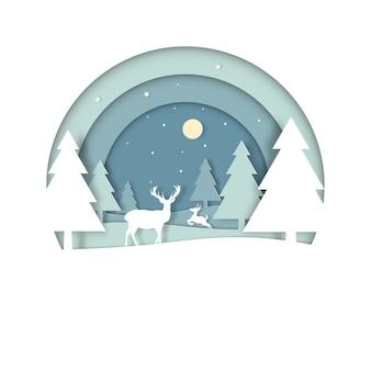 冬の雪とメリークリスマスの森の鹿。サークルビューのグリーティングカード。ペーパーアートとデジタルクラフトスタイル