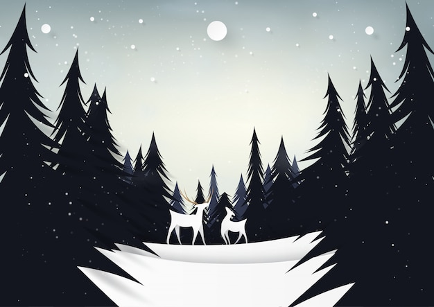 Deers and pine forest on night winter season landscape.