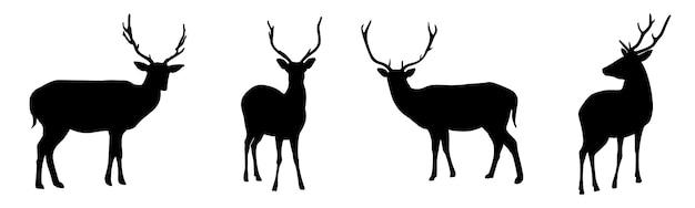 Набор силуэтов оленей, изолированные на белом фоне. иллюстрация