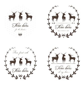 Deers stamps or decorative logo design for new year and christmas winter holidays