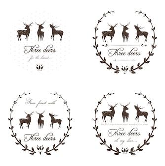 Марки оленей или декоративный дизайн логотипа для новогодних и рождественских зимних праздников