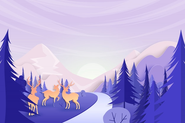 Deers wildlife on beautiful nature landscape background paper art style.