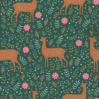 Deers and winter flora seamless pattern vectoer background