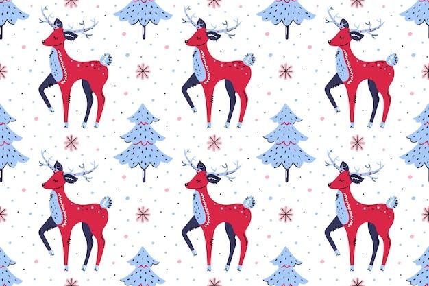 クリスマスツリーと鹿。シームレスなパターン、テクスチャ、背景。メリークリスマス、明けましておめでとうございます。