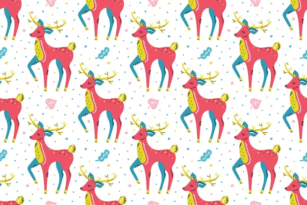 Deers with leaves. seamless pattern, texture, background. merry christmas, happy new year.