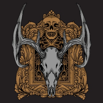Deerskull with ornament frame