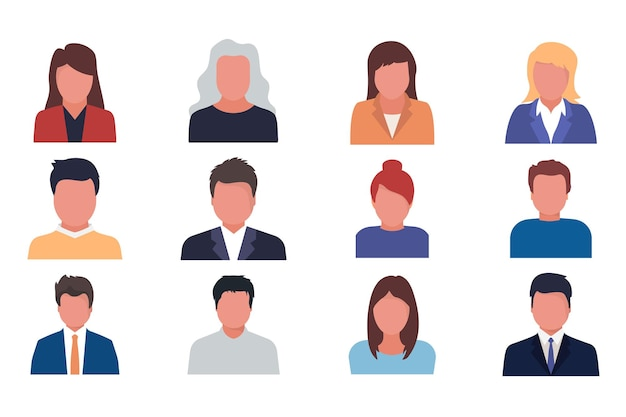 Default avatar profile male and female faces. man and woman. business men and women avatar icons. vector illustration of flat design people characters. human face for representing person