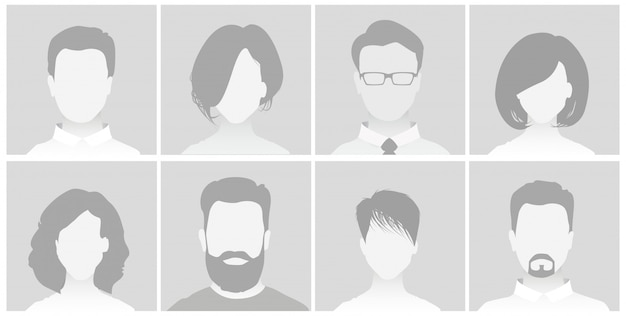 Default placeholder avatar profile on gray background man and woman